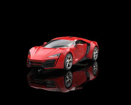 反射黒地に明るい赤のスポーツカー 写真素材