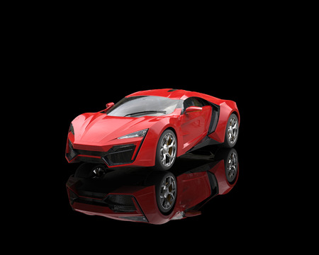 Bright red sports car on black reflective background