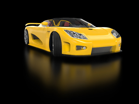 sportscar: Yellow sportscar with reflection Stock Photo
