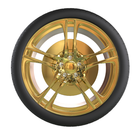 vulcanization: Racing tire with golden rim - front view