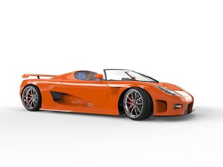 sportscar: Orange sportscar with blue seats - side view