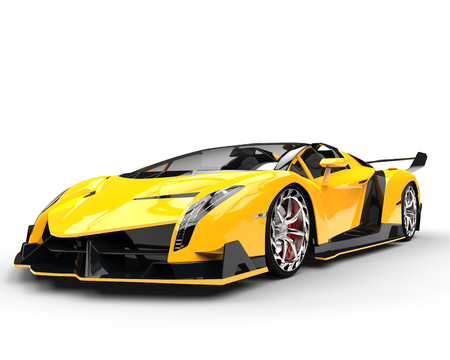 Yellow Race Supercar - Studio Shot