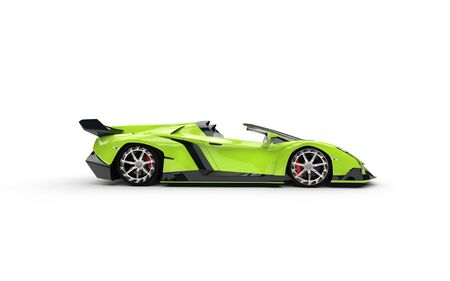 Green supercar on white background - side view Фото со стока