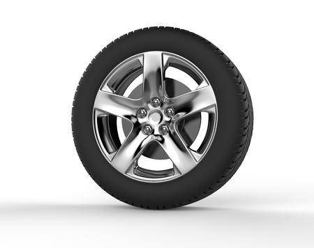 chrome: Car wheel - chrome rim Stock Photo