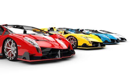 studio lighting: Row of race supercars - studio lighting shot