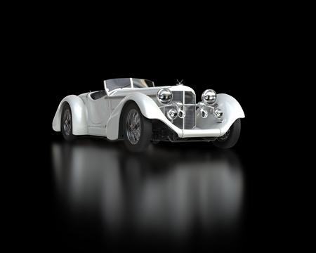 White vintage car - blurred reflection