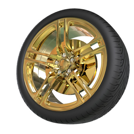 vulcanization: Racing tire with golden rim