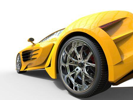 Yellow supercar - wheel closeup