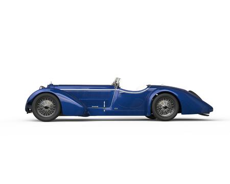 메탈릭 블루 오래 된 타이머 자동차 - 측면보기 스톡 콘텐츠 - 52481502