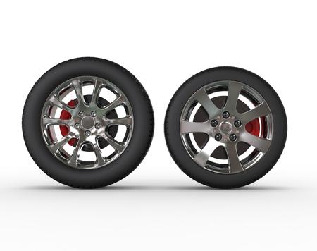 vulcanization: Regular car wheels - front view