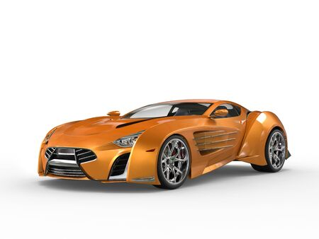 supercar: Orange metallic supercar - studio shot