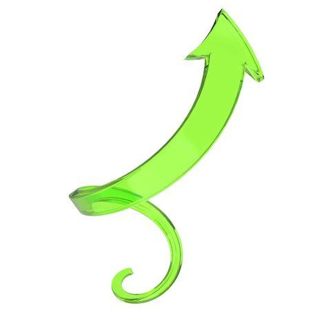 Spiral up arrow - green glass