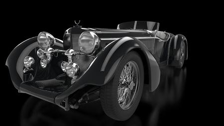 Black vintage car - closeup - dark showroom