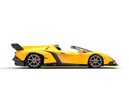 concept car: Yellow Supercar - Side View Stock Photo