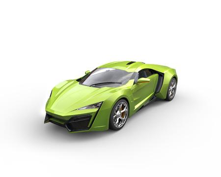 緑の金属のスーパーカー コンセプト - スタジオ撮影 写真素材
