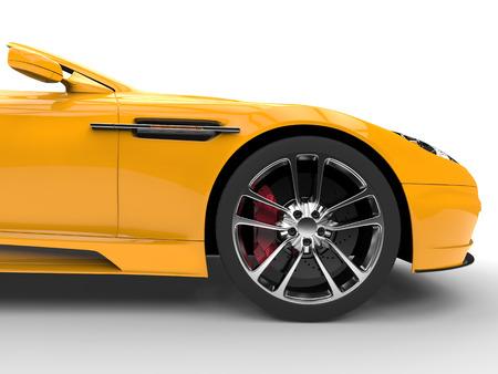 Yellow sports car - front wheel
