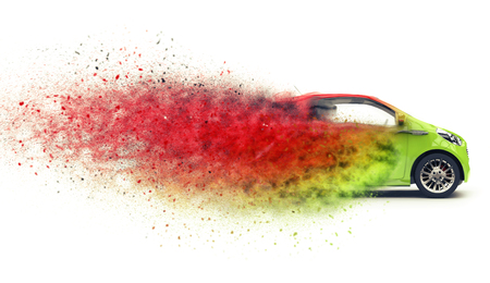 disintegrating: Compact car disintegrating