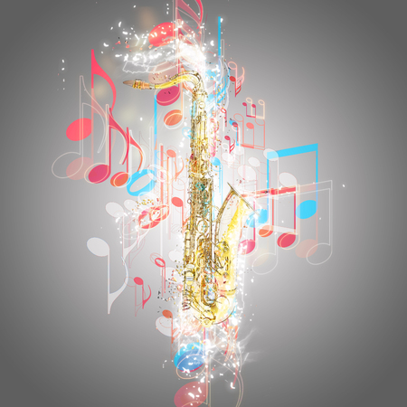 brassy: Saxophone and music notes
