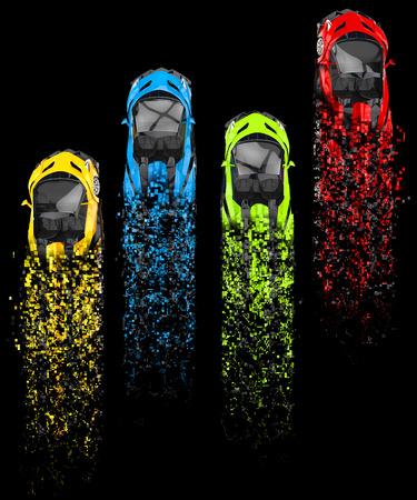 disintegration: Supercars - base colors - pixelated disintegration