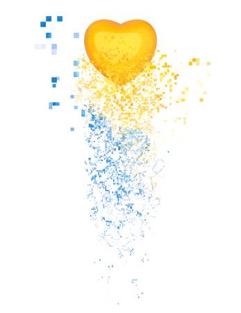 yellow heart: Yellow heart - spiral pixel flow