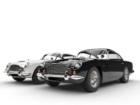 黒と白の古典的なヴィンテージ車ホワイト バック グラウンド