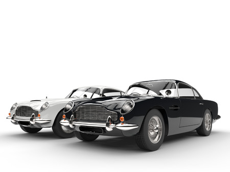 Black and white classic vintage cars on white background Фото со стока