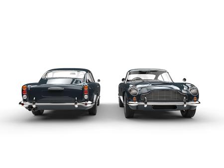 어두운 회색 클래식 빈티지 자동차 - 전면 및 후면보기 스톡 콘텐츠