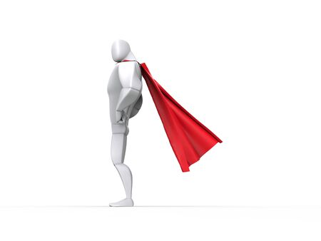 right side: Superhero guy with red cape - right side view