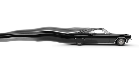 speed car: Classic muscle black car - speed stripe trails Stock Photo