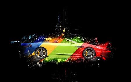 カラフルなスポーツ車 - 抽象的なイラスト