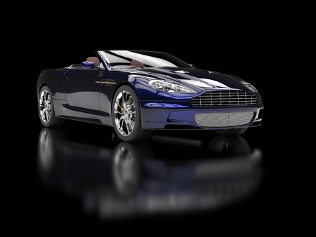 Dark blue convertible sports car on reflective background - front view Stock Photo