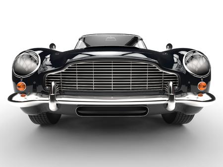 黒の古典的な車 - 極端なフロント グリルとヘッドライトのクローズ アップ
