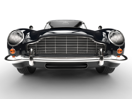 Black classic car - extreme front grille and headlight closeup Imagens