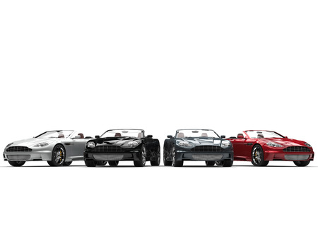 Row of convertible sports cars - front view