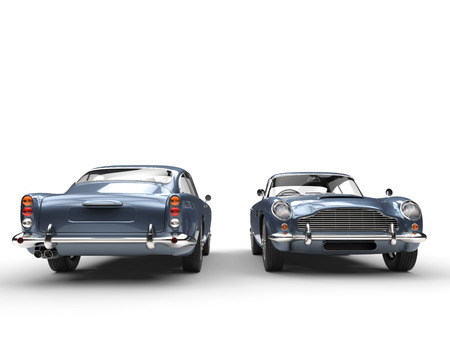 라이트 블루 클래식 빈티지 자동차 - 앞면과 뒷면보기 스톡 콘텐츠