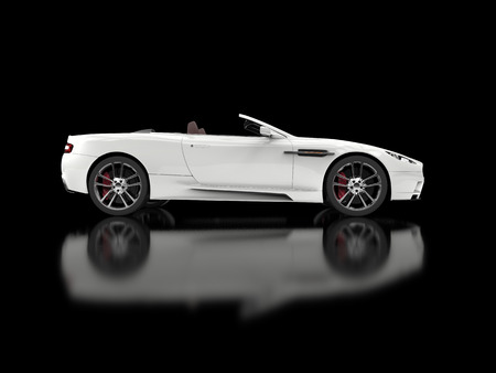 car side view: White convertible luxury sports car - side view