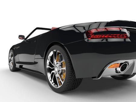 taillight: Black convertible sports car - taillight extreme closeup Stock Photo