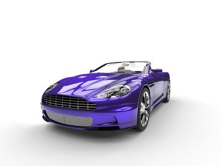 purple car: Purple metallic sports car - front view