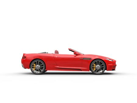 Rode cabriolet sportwagen - studio shot - zijaanzicht Stockfoto - 54730505