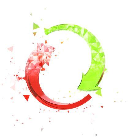 arrows circle: Polygonal circle arrows - red and green