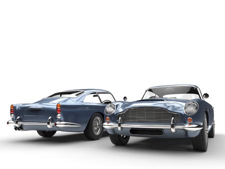 Lichtblauwe klassieke vintage auto's - voor- en achteraanzicht