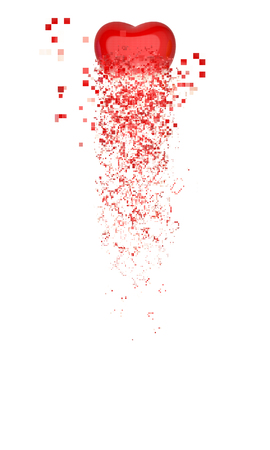 disintegration: Red heart - particle disintegration Stock Photo