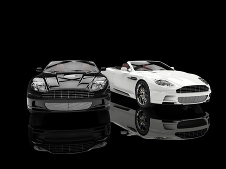 Black and white luxury sports cars - reflection