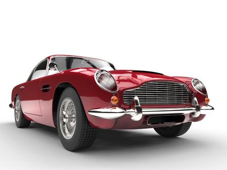 ビンテージ赤い車 - フロントの極端なクローズ アップ 写真素材