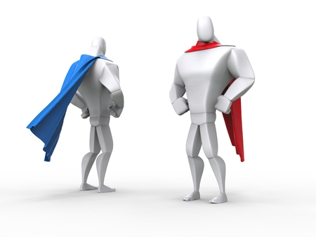 capes: Superheroes with red and blue capes Stock Photo