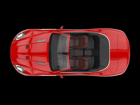 red sports car: Red sports car convertible - top view