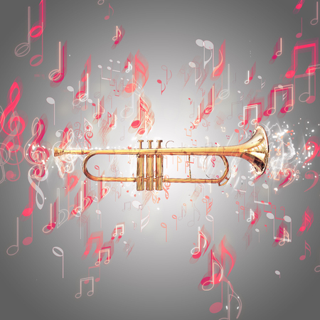 brassy: Trumpet and music notes