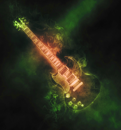 hardrock: Green smoke hard rock guitar