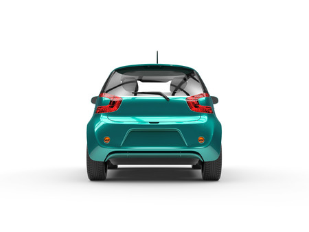 Teal Compact Car - Rear View Stock Photo - 54730073