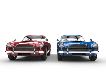 Red and blue metallic vintage cars - front view